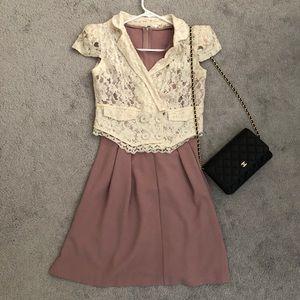 Short sleeve lace blazer top XS